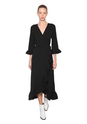 CLARK RUFFLED CREPE WRAP MIDI DRESS