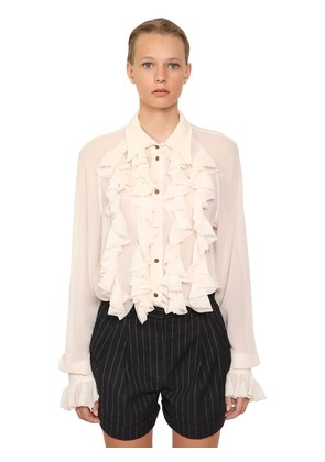 RUCHED CREPE BLOUSE