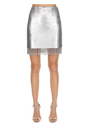 SEQUINED MINI SKIRT W/ FRINGE