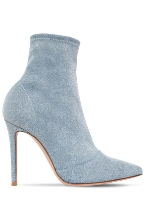 105MM STRETCH DENIM ANKLE BOOTS