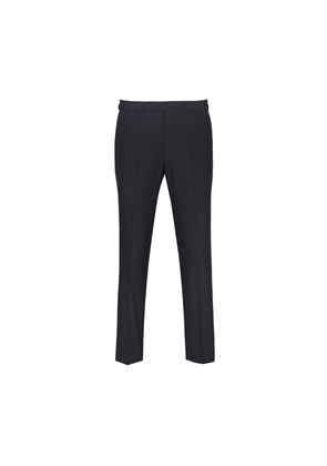 Chester Barrie Navy Flat-Front Formal Wool Trousers