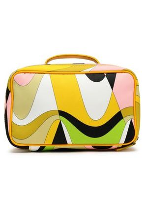 Emilio Pucci Woman Leather-trimmed Printed Satin Cosmetics Case Sage Green Size -