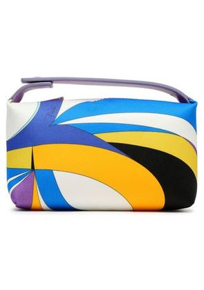 Emilio Pucci Woman Leather-trimmed Printed Satin Cosmetics Case Blue Size -
