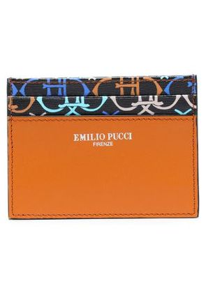 Emilio Pucci Woman Smooth And Printed Textured-leather Cardholder Tan Size -