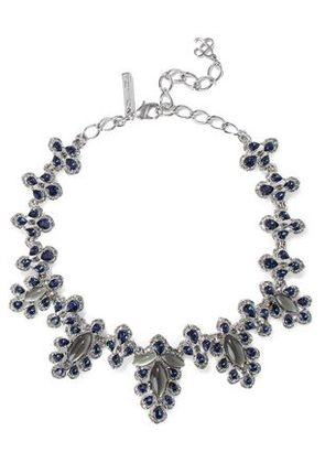 Oscar De La Renta Woman Silver-tone, Crystal And Stone Necklace White Gold Size -