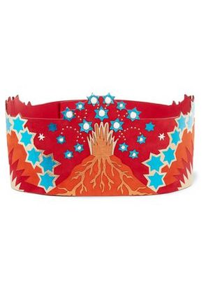Valentino Woman Embellished Metallic Leather And Suede Waist Belt Red Size 70