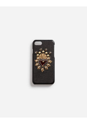 Dolce & Gabbana Hi-Tech Accessories - CALFSKIN IPHONE 7 COVER WITH HEART PATCH BLACK