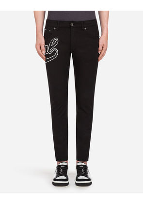 Dolce & Gabbana Trousers - FIVE POCKET TROUSERS IN STRETCH COTTON WITH PATCH BLACK