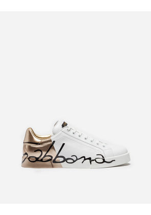 Dolce & Gabbana Sneakers and Slip-On - PORTOFINO SNEAKERS IN LEATHER AND PATENT WHITE/GOLD