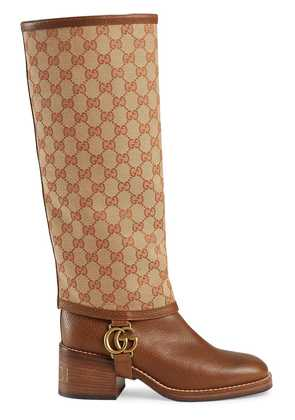 Gucci Leather boot with GG gaiter - Brown