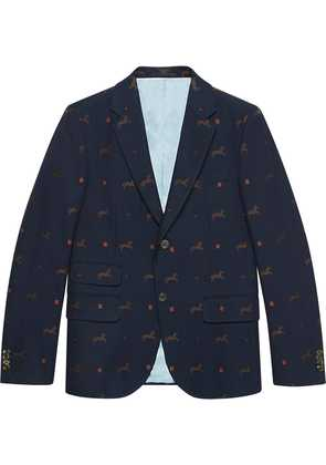 Gucci Cambridge horse pattern gabardine jacket - Blue