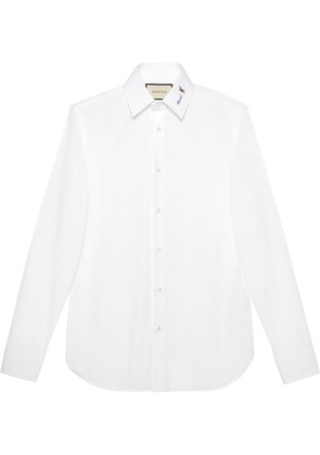 Gucci Poplin shirt with Gucci flower fil - White