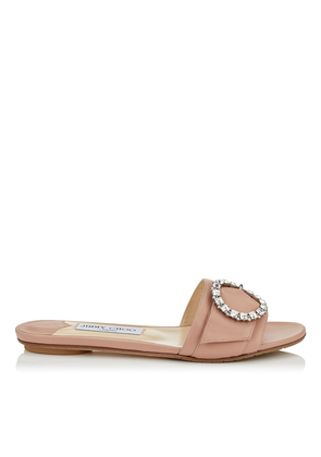 GRANGER FLAT Ballet Pink Nappa Leather Mules with Crystal Buckle