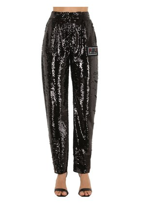 SEQUINED STRAIGHT LEG PANTS W/ SEQUINS