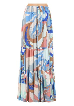 PRINTED SILK LONG SKIRT