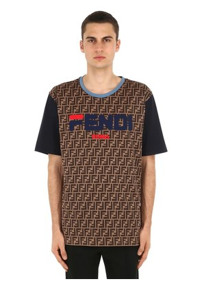 FENDI MANIA COTTON JERSEY T-SHIRT