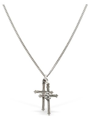DOUBLE CROSS & SKULL SILVER NECKLACE