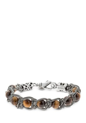 TIGER'S EYE BRAIDED SILVER BRACELET