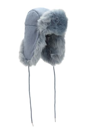 HELMET HEAD FAUX SUEDE & FAUX FUR HAT