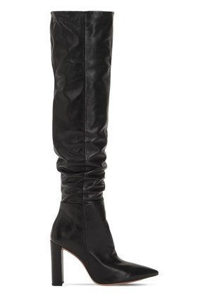 100MM ANNA SLOUCHY LEATHER BOOTS