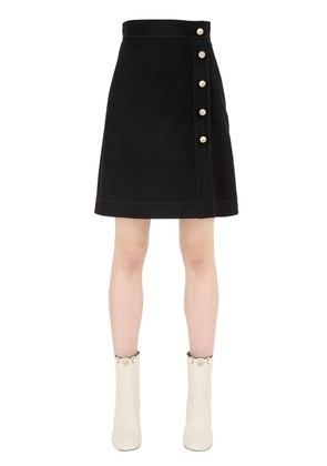 WOOL & SILK CREPE MINI SKIRT