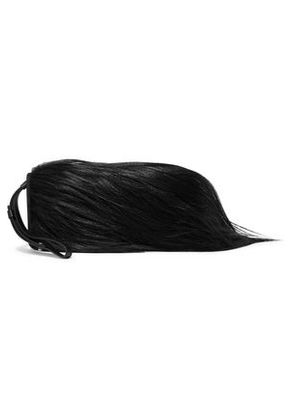 Maison Margiela Woman Goat Hair And Leather Clutch Black Size -