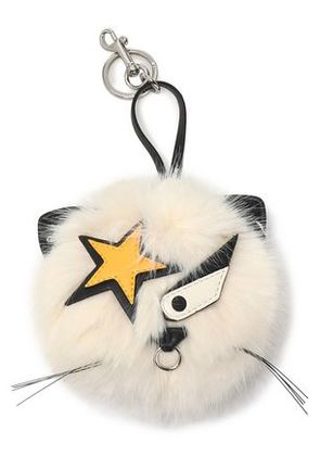 Stella Mccartney Woman Silver-tone, Leather And Faux Fur Keychain White Size -