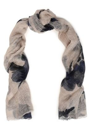 Brunello Cucinelli Woman Frayed Printed Cashmere-gauze Scarf Off-white Size -