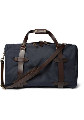 Filson - Leather-trimmed Twill Duffle Bag - Navy
