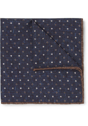 Reversible Printed Silk And Cotton-blend Pocket Square