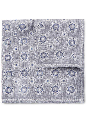 Reversible Printed Linen And Cotton-blend Pocket Square
