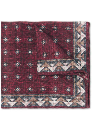 Printed Linen And Cotton-blend Pocket Square