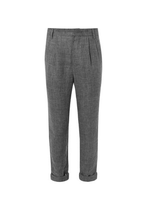Tapered Prince Of Wales Checked Pleated Linen Trousers