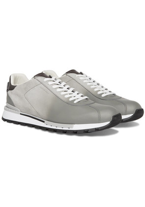 Berluti - Fast Track Torino Suede And Leather Sneakers - Light gray