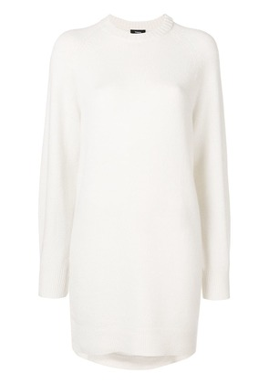 Theory fine knit crewneck sweater dress - White