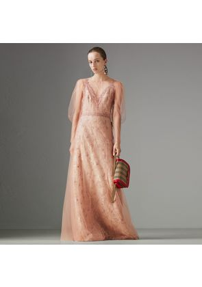Burberry Floral-embroidered Puff-sleeve Dress, Pink