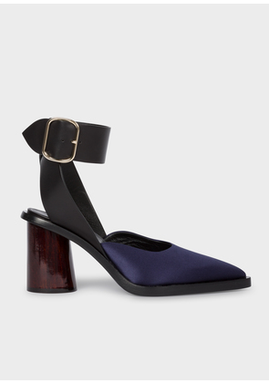 Women's Dark Navy Satin & Leather 'Gaia' Sandals