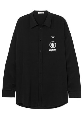 Balenciaga - + World Food Programme Printed Silk-crepe Shirt - Black