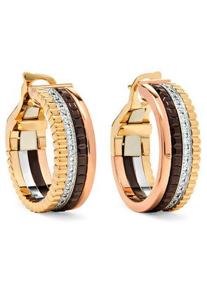 Boucheron - Quatre Classique 18-karat Yellow, Rose And White Gold Diamond Hoop Earrings - one size