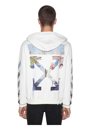 PRINTED ARROW COTTON JERSEY HOODIE
