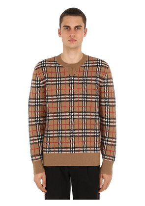 CHECKED CASHMERE KNIT SWEATER