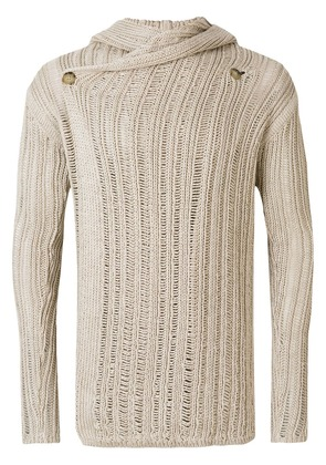 Rick Owens wrap front open knit hooded cardigan - 21 Nude