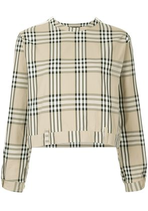Andrea Crews side snap checked top - Brown
