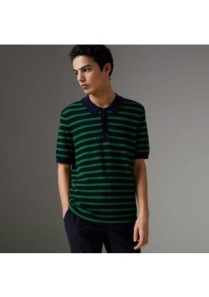 Burberry Striped Knitted Cotton Polo Shirt, Blue