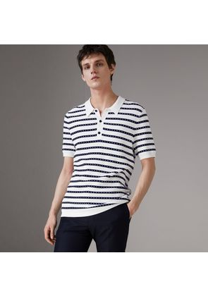 Burberry Striped Knitted Cotton Polo Shirt, White