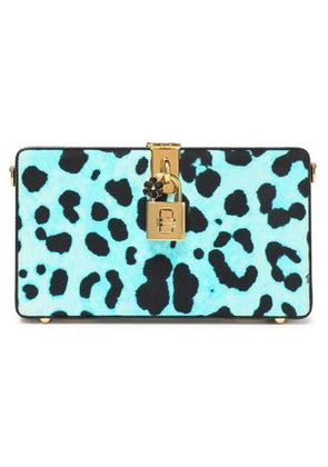Dolce & Gabbana Woman Leopard-print Leather Box Clutch Turquoise Size -
