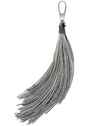 Brunello Cucinelli Woman Beaded Leather Tassel Keychain Gray Size -