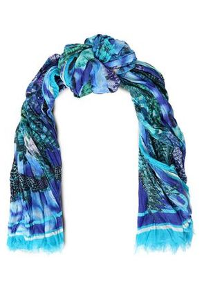Roberto Cavalli Woman Printed Cotton And Silk-blend Scarf Blue Size -