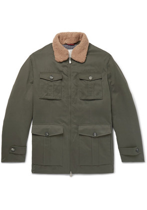 Shearling-trimmed Microfibre-shell Down Field Jacket