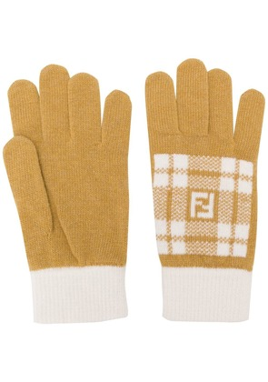 Fendi knitted gloves - Yellow